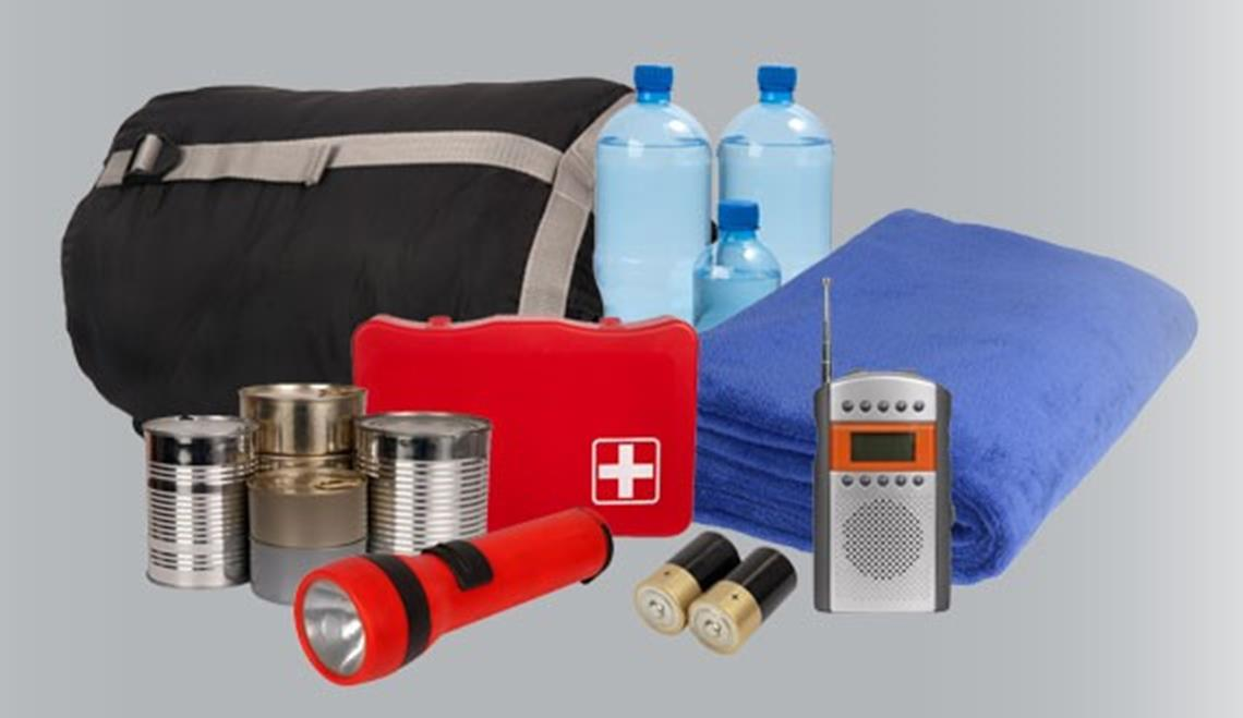 Water, blanket, radio, flashlight, batteries