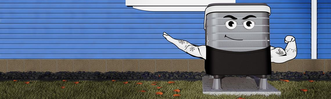 Animated cold-climate heat pump
