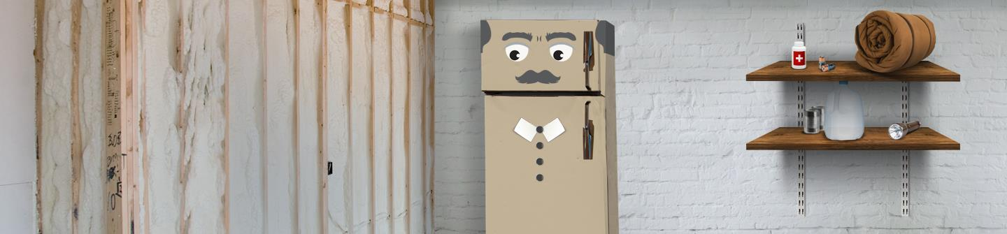 Animated appliance in basement